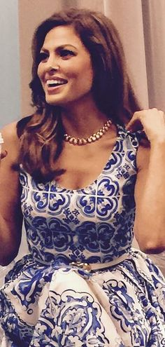 Eva Mendes wore a House of Lavande Vintage necklace to her Estee Lauder New Dimension launch at Nordstrom Aventura Mall in Miami Ryan Gosling, Miami, Eva Mendes Collection, Blue And White Dress, Eva Longoria, Red Carpet Looks, Beautiful Outfits, Beautiful Clothes, Special Occasion Dresses