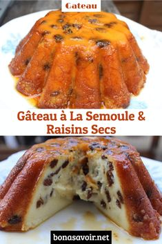 Gâteau à La Semoule & Raisins Secs – Bon À Savoir Healthy French Toast, French Toast Bake, Semolina Cake, Dessert Aux Fruits, French Food, Custard, Creme, Sausage, Cooking Recipes