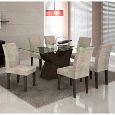 Quer deixar a sua sala de jantar mais elegante? Este conjunto é a combinação perfeita da madeira rústica com o vidro.     #decoração #design #MadeiraMadeira