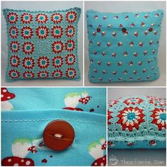 Red and turquoise granny square pillow -- crochet work Love Crochet, Beautiful Crochet, Diy Crochet, Crochet Crafts, Crochet Projects, Crochet Squares, Crochet Granny, Crochet Motif, Crochet Patterns