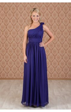 Cadbury purple one shoulder bridesmaid dresses.