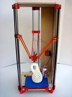 Rostock is a delta robot 3D printer prototype.