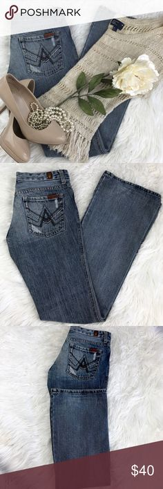 """💕SALE💕 7 for all Mankind """"A"""" Pocket Denim Fabulous  7 for all Mankind """"A"""" Pocket Distressed Denim 33"""" Inseam 7 1/2"""" Rise 7 For All Mankind Jeans"""