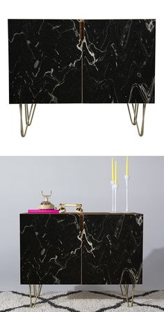 Someone did their homework when mapping out the final finish of this So Vein Credenza. With a look of stunning black marble, it's a true beauty that adds a sophisticated touch to a living space in need...  Find the So Vein Credenza, as seen in the Labor Day Weekend Sales: Furniture Collection at http://dotandbo.com/collections/labor-day-weekend-sales-furniture?utm_source=pinterest&utm_medium=organic&db_sku=131837