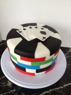 Poker Cake - by Mari's Boutique Cakes Big Cakes, Crazy Cakes, Poker Cake, Dad Cake, Fantasy Cake, Cakes Today, Caking It Up, Casino Cakes, Novelty Cakes