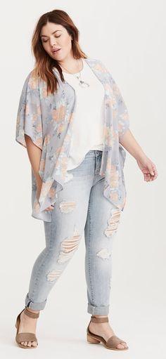 Plus Size Chiffon Dolman Kimono