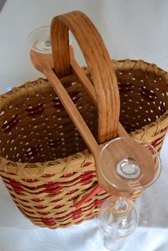 Handwoven Wine Basket Double With Cardinal by CedarHillBaskets