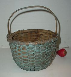 Antique Paint Splint Small Berry Basket Hand Woven Push up Bottom     Sold  Ebay   87.00