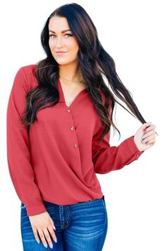 Surplice Button Trio Top looks simple but unusual,it's elegant and stylish from the design and colors,wholesale from dear-lover. Short Sleeve Collared Shirts, Best Tank Tops, Yellow Fashion, Fashion Styles, Latest Fashion, Fashion Fashion, Stylish, Lady, Long Sleeve