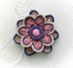 HAND CROCHET CORSAGE BROOCH APPLIQUE MAUVE LILAC ACRYLIC FLOWER | eBay