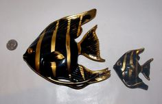 VINTAGE Black & Gold ANGEL Puffer  FISH WALL DECOR Lefton wall pockets    | eBay