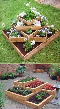 20 Truly Cool DIY Garden Bed and Planter Ideas - Build tiered beds from wood. - 20 Truly Cool DIY Garden Bed and Planter Ideas – Build tiered beds from wooden pallets. – 20 Truly Cool DIY Garden Bed and Planter Ideas Diy Garden Bed, Diy Garden Projects, Easy Garden, Garden Tips, Diy Garden Ideas On A Budget, Pallet Garden Box, Wood Pallet Planters, Garden Edging, Outdoor Projects
