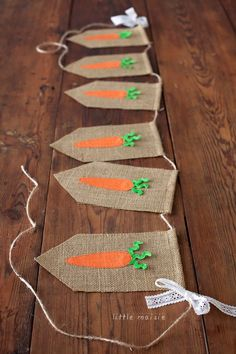 Easter: Creative Carrot Party Ideas for Easter. How about some creative carrot party ideas for your Easter celebration? Im sharing some cute ones today Be sure to check out all of our Easter party ideas and inspiration. Easter Burlap Banner, Easter Garland, Burlap Banners, Spring Crafts, Holiday Crafts, Diy Baby Shower Decorations, Easter 2020, Easter Celebration, Hoppy Easter
