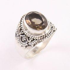 Smoky Quartz Gemstone 925 Sterling Silver Vintage Art Ring Size 5.5 St Michael Pendant, Sunflower Jewelry, Smoky Quartz Ring, Silver Jewellery Indian, Sterling Silver Jewelry, Gemstone Rings, Vintage Art, Gemstones, Key