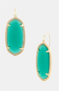 KENDRA SCOTT Elle Small Oval Earrings Green Onyx/Gold $46.95