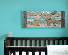 Elephant Twin Nursery Decor - Baby room decor - Twin elephants - Grey, White, Blue, Pink - Reclaimed wood - Made in Austin, TX, USA