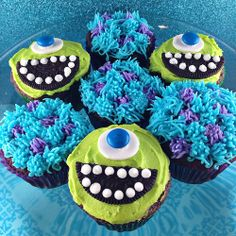 """'monsters inc' cupcakes. I will make these for Lincoln. He loves """"pancakes."""""""