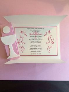 first holy communion invitations with swirl by ttulipgreetings First Communion Cards, Holy Communion Invitations, Christening Invitations, Baby Invitations, First Holy Communion, Invitation Cards, Custom Invitations, Confirmation Cards, Holi