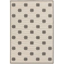 Alfresco Beige/Black Medallion/Damask Area Rug