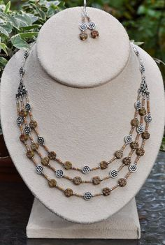 Jewelry - Necklaces - Multistrand 18 inch Brown Floral Necklace and earring set by JewelryArtByGail