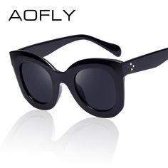 AOFLY Fashion Sunglasses Women Luxury Brand Designer Vintage Sun glasses Female Rivet Cat eye Glasses For Women Gafas Oculos