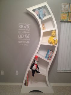 shelf might be cuter Dr Seuss wooden unique whimsical custom by GaynorCreations on Etsy kids playroom! Dr Seuss Nursery, Nursery Room, Kids Bedroom, Baby Room, Bookcase Shelves, Bookshelf Design, Bookcases, Baby Furniture, Nursery Themes