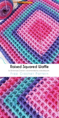 Raised Squared Waffle Free Crochet Pattern |#freecrochetPatterns #crochetafghan