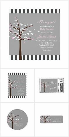 Butterfly Tree Baby Shower Invitation Collection