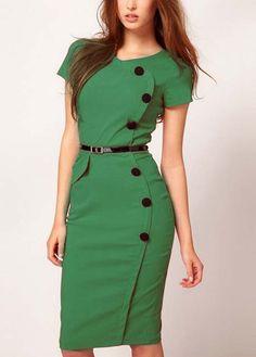 Hot Sale Button Decoration Short Sleeve Sheath Green Dress | Rosewe.com
