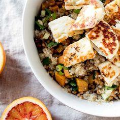 Quinoa and Halloumi Salad with Blood Orange Vinaigrette (in Finnish)