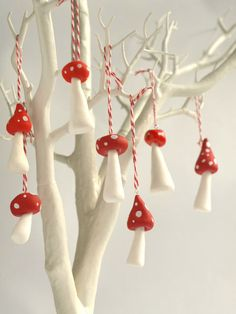 A set of three Little Toadstool Christmas Decorations, made from clay and then painted. Handmade by Hofficraft.