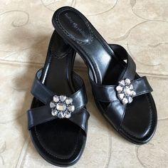 Black Mules Shoes Pretty and Comfy SlipOn Shoes with 1 1/2 inch heels. Rhinestone-like Embellishment. Size 9. Lindsay Phillips brand. Be sure to check my bundle discount. Thank you. Lindsay Phillips Shoes