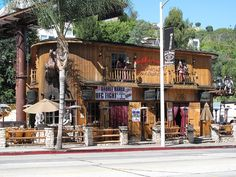 The Saddle Ranch Chop House, Sunset Strip, LA - where you can eat steak and drink draught beer whilst watching a bucking bronco.