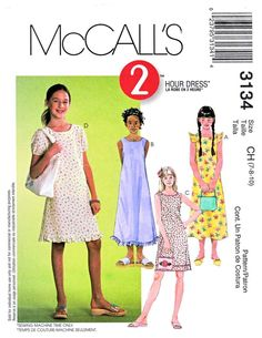 McCall's Sewing Pattern 3134 Girls Size 7-10 2-Hour Pullover Sleeveless A-Line Summer Dress   McCall's+Sewing+Pattern+3134+Girls+Size+7-10+2-Hour+Pullover+Sleeveless+A-Line+Summer+Dress
