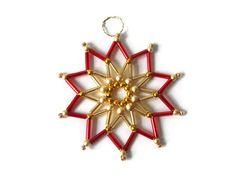 red or blue seed bead star beaded Christmas par Kreativprodukte