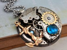 steampunk jewelry necklace TIME To SET SAILS antique by junesnight, $116.50