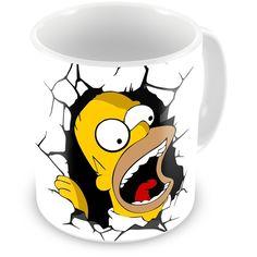 Caneca de Porcelana Homer Simpson Quebrando Tudo White - ArtePress - Brindes em…