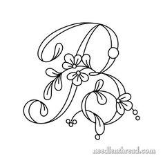 Floral Script Monogram for Embroidery – A-D – NeedlenThread.com