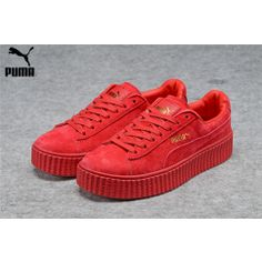 Men s Women s Fenty Puma by Rihanna Suede Creepers Shoes Red Hmm 🤔 Suede  Creepers df1137b4b