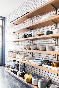I like this look. I also like herringbone tile pattern... Open shelving would break up that white and black line dimension. But perhaps doing both herringbone and open shelving would be conflicting... Or maybe it would be nice. I think I would need to mock up what it'd look like.