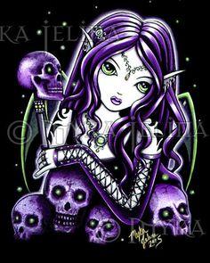 Gothic Purple Fairy Skull Tattoo Belladonna Myka Jelina CANVAS Embellished 8x10 #PopArt