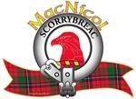 "MacNicol Clan Crest and Tartan ""A hawk's head erased Gules"". MacNicol Clan Motto is ""SCORRYBREAC"", translated as ""Grey Ridge"". MacRory Mor"