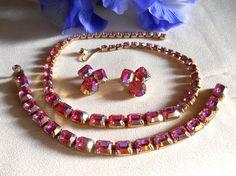 Vintage Pink AB Rhinestone Necklace Bracelet by JanesVintageJewels, $55.00