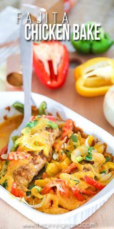 Easy Fajita Chicken Bake Recipe – The Pinning Mama Easy Fajita Chicken Bake Recipe, Baked Chicken Fajitas, Baked Chicken Recipes, Chicken Fajita Casserole, Chicken Menu, Keto Chicken, Cooking Recipes, Healthy Recipes, Keto Recipes