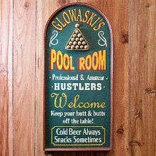 Office Man Cave Gift Personalized POOL HUSTLER Vintage Wood Plank Sign Home