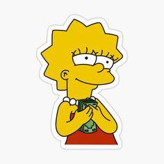 'lisa simpson ballin' Sticker by shrekspeeen Homemade Stickers, Instagram Prints, Cute Stickers, Brand Stickers, Aesthetic Stickers, Vintage Comics, Retro Art, Transparent Stickers, Lisa Simpson