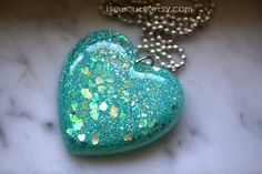 Cool Blue Winter Mint Necklace Sparkly Glitter Jewelry by isewcute, $22.50