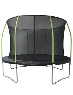 This trampoline features heavy-duty elastic straps instead of springs, making it safer without sacrificing bounce. It also has a reinforced enclosure net and safety padding, with galvanised steel frame.