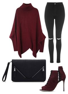 """""""Maroon poncho and heels"""" by beautyfoolyou on Polyvore featuring Topshop, Sergio Rossi, women's clothing, women, female, woman, misses and juniors"""