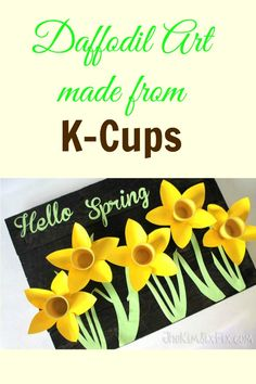 Instead of ending up in a landfill use K-Cups to make art! This daffodil 3-dimensional art was made with K-Cups, cardstock and spray paint.